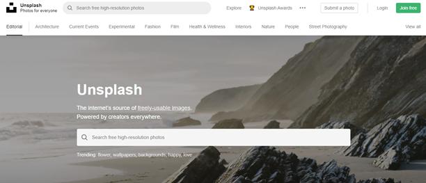 Screenshot Upsplash home page